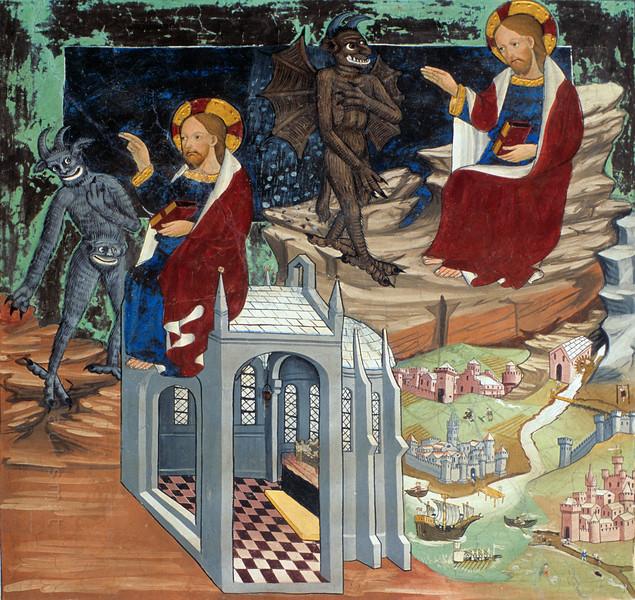 Temptations of Jesus (fresco in Lanslevillard).