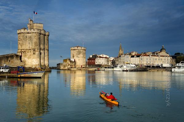[FRANCE. ATLANTIC 30069] 'Kayaking in Old Harbour of La Rochelle.'