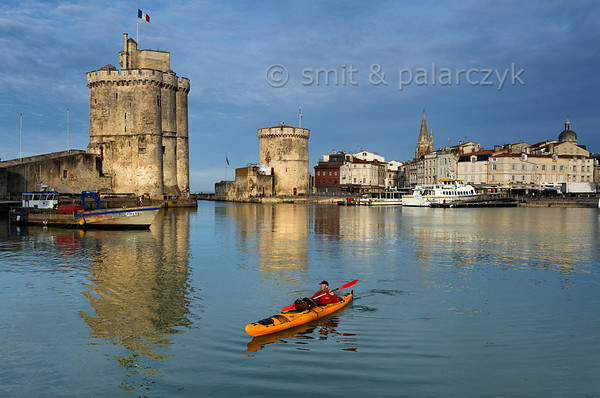 [FRANCE. ATLANTIC 30071] 'Kayaking in Old Harbour of La Rochelle.'