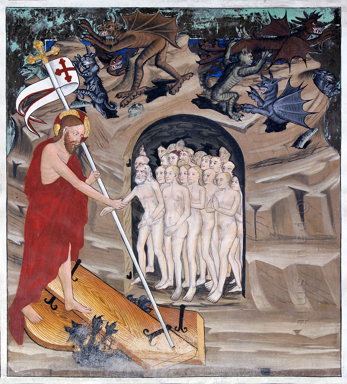 [FRANCE.ALPSNORTH 10977] 'Jesus' descent to the dead.'  Not only do the frescoes in the Chapelle Saint Sébastien in Lanslevillard reach an astonishing high artistic level, the colours have kept their original saturation as well. This most important work of art in the Haute Maurienne has been painted at the end of the 15th century by artists from Piemonte (now in Italy but then in the same country: Savoy). Its location may seem unexpected: a small village deep in the Alps. But the chapel is situated right at the start of the pass road over the Col du Mont Cenis, in those days one of the main connections between France and Italy.  The fresco shows what is often called the Harrowing of Hell or the Descent into Limbo. After being entombed and before resurrection Jesus descents to the dead and releases Hell's captives, particularly Adam and Eve (holding hands) and the righteous people of Old Testament times. Photo Paul Smit.