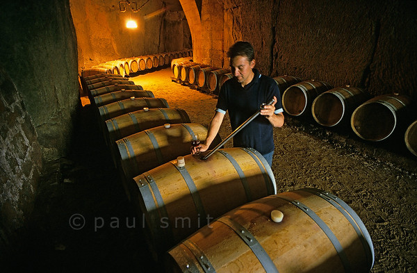[FRANCE.LOIRE 10863] 'Winegrower at Parnay.'  	Winegrower Hervé Gourmain in the winecellar of his troglodytic Château du Marconnay which is excavated in the limestone of the southern Loire bank at Parnay, a few kilometers east of Saumur. Photo Paul Smit.