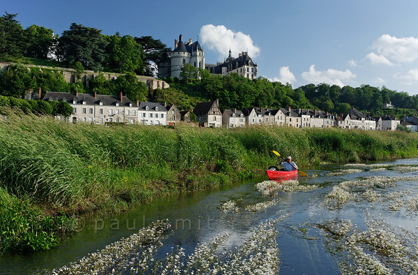 [FRANCE.LOIRE 10826] 'Chaumont's Castle seen from a paddler's perspective.'  The 15th century castle of Chaumont-sur-Loire looks down on a paddler navigating the loire between Blois and Amboise. Locally the river is covered by large patches of flowering River Water-crowfoot (Ranunculus fluitans; NL: Vlottende waterranonkel). Rooted in the riverbed, it produces strands of up to 6 meters in length, that are stretched out in the direction of the current. Photo Paul Smit.