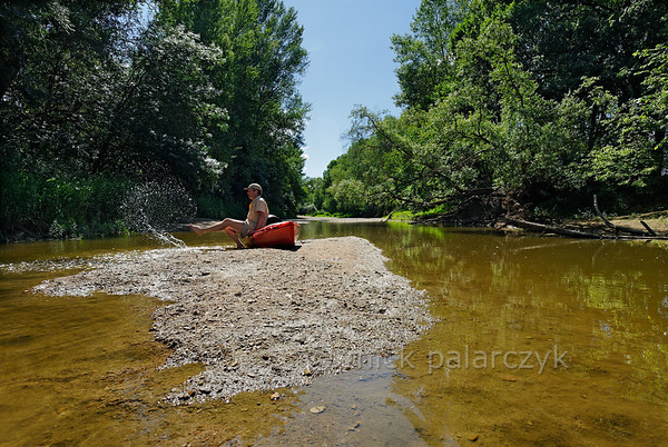 [FRANCE.LOIRE 10853] 'Secondary branch of Loire near Chouzé-sur-Loire.'  	Some secondary branches of the Loire, such as this one near Chouzé-sur-Loire, are secluded places with shallow warm water: ideal for a pause during a kayak trip. But watch out for disturbing animals! Photo Mick Palarczyk.
