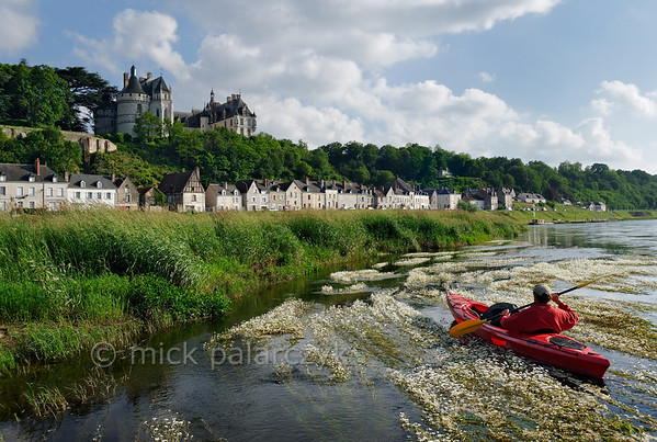 [FRANCE.LOIRE 10824] 'Chaumont's Castle seen from a paddler's perspective.'  The 15th century castle of Chaumont-sur-Loire looks down on a paddler navigating the loire between Blois and Amboise. Locally the river is covered by large patches of flowering River Water-crowfoot (Ranunculus fluitans; NL: Vlottende waterranonkel). Rooted in the riverbed, it produces strands of up to 6 meters in length, that are stretched out in the direction of the current. Photo Mick Palarczyk.