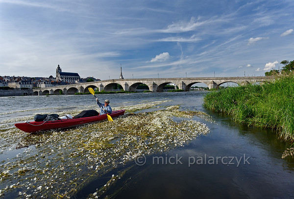 [FRANCE.LOIRE 10816] 'Kayak near the Loire bridge of Blois.'  Downstream of the medieval Loire bridge at Blois a kayaker encounters a patch of flowering River Water-crowfoot (Ranunculus fluitans; NL: Vlottende waterranonkel). Rooted in the riverbed, it produces strands of up to 6 meters in length, that are stretched out in the direction of the current. From june till august its white flowers form a splendid sight for paddlers. But mind you, you can get stuck in them as well! Photo Mick Palarczyk.