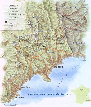 'Map of the hikes.' © Peter de Vries. This map is for indication purposes only. It has not my copyright, so I cannot sell you the rights to publish it. However I can bring you into contact with Peter de Vries.