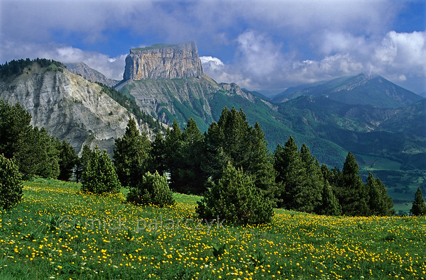 [FRANCE.ALPSNORTH 24.488] 'Mont Aiguille-2.'  Millennia of erosion have isolated the needle of the Mont Aiguille from the main limestone massif of the Hauts Plateaux du Vercors. Here a view from the Pas de l'Essaure, at the eastern edge of the plateau. Photo Mick Palarczyk.