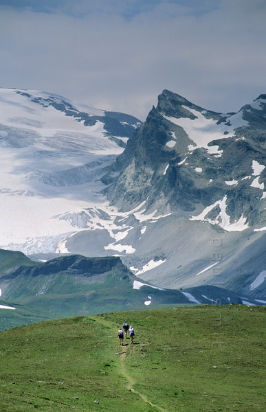[FRANCE.ALPSNORTH 10996] 'Hiking in the Vanoise national park.'  One of the best ways to enjoy a hike high up in the Vanoise national park, without a long climb to begin with, is by first taking the car from Termignon, in the Haute Maurienne, to the Bellecombe parking. From there it is an easy walk to the Refuge du Plan du Lac, a mountain hut in splendid surroundings, overlooking the glaciers of the Vanoise, where this photo is taken. Many people start a dayhike here. Photo Paul Smit.