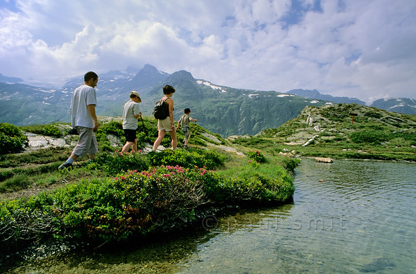 [FRANCE.ALPSNORTH 10988] 'Young family at Lac Blanc.'  One of the best ways to enjoy a hike high up in the Vanoise national park, without a long climb to begin with, is by first taking the car from Termignon, in the Haute Maurienne, to the Bellecombe parking. From there you can walk to several mountain lakes, situated on the same plateau as the parking and therefore easy hikes. One of them is Lac Blanc, with its superb view over the glaciers of the Vanoise. Photo Paul Smit.