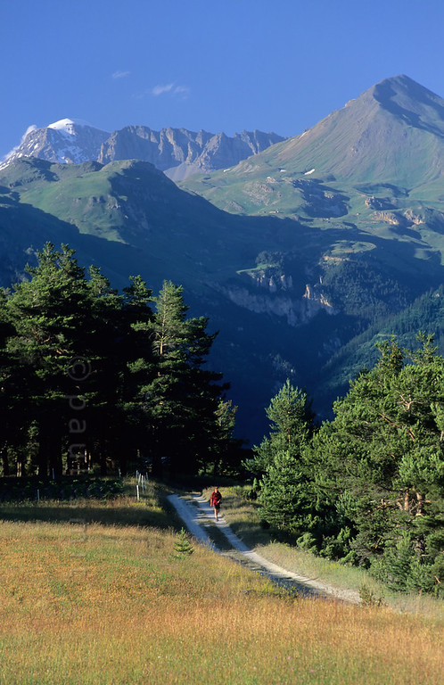 [FRANCE.ALPSNORTH 10998] 'Hiking in the Haute Maurienne.'  You don't need to go high up in the mountains to enjoy hiking in the Haute Maurienne. Like here on the lower slopes near Sardières, with the Vanoise national park as backdrop. Photo Paul Smit.