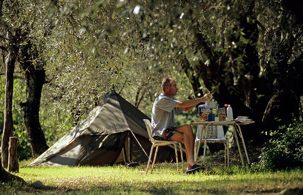 Camping at the olive grove.