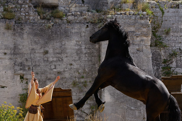 "[FRANCE.PROVENCE 10667] 'Medieval princess and her horse.'  During the summer, some medieval events are organized in the castle of Les Baux-de-Provence. One of the acts is performed by a medieval ""princess"", who is in perfect unity with her horse. The castle, which nowadays is a large complex of ruins, was once the seat of the noble Des Baux family, who became Counts of Orange in 1173 and Princes of Orange in 1181. Photo Paul Smit."