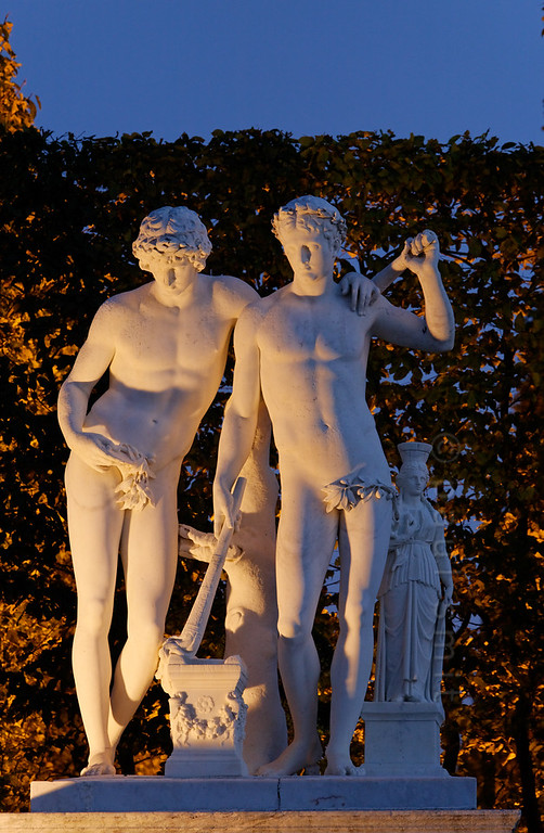 "[FRANCE.ILEDEFRANCE 11086] 'Castor and Pollux, Palace Gardens, Versailles.'  The Palace Gardens of Versailles contain 372 sculptures. You can find ""Castor and Pollux"" near the Latona Fountain. It dates from between 1685 and 1712 and is sculpted by Antoine Coysevox. Photo Paul Smit."