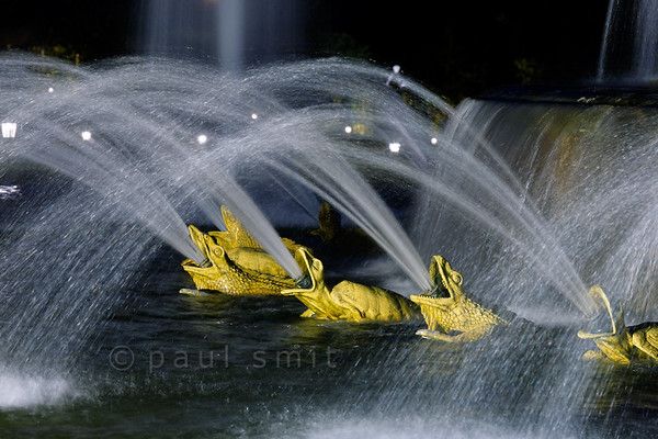 [FRANCE.ILEDEFRANCE 11098] 'Frogs at the Latona fountain, Palace Gardens, Versailles.'  During the Fountains Night Show (Grands Eaux Nocturnes) every single fountain comes to life in a balanced lighting. Inspired by Ovid's Metamorphoses, the Latona Fountain tells the story of Latona, mother of Apollo and Diana, protecting her children against the insults of the peasants of Lycia and calling on Jupiter to avenge them. He heard her plea and transformed them into frogs and lizards. The initial sculptures were made by Gaspard and Bathasar Marsy in 1670. The arrangement of the fountain was changed and finished by Jules Hardouin-Mansart in 1689. Photo Paul Smit.