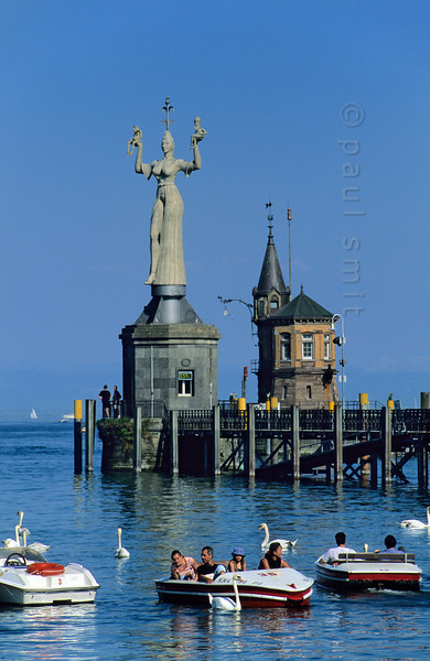 [GERMANY.BAWU 00784] 'Port of Konstanz.'  Permanently turning around her axis, legendary hooker Imperia shows her beauty to whoever enters the port of Konstanz. During the days of the Council of Constance pope and emperor were in her spell. Photo Paul Smit.