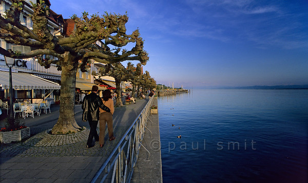 [GERMANY.BAWU 00712]  'Meersburg lakeside.'  Meersburg is the most visited town at the Bodensee, because of its picturesque historical centre. Busy during the day, its evenings have a calmer flair. Then the lakeside promenade is where you want to be. Photo Paul Smit.