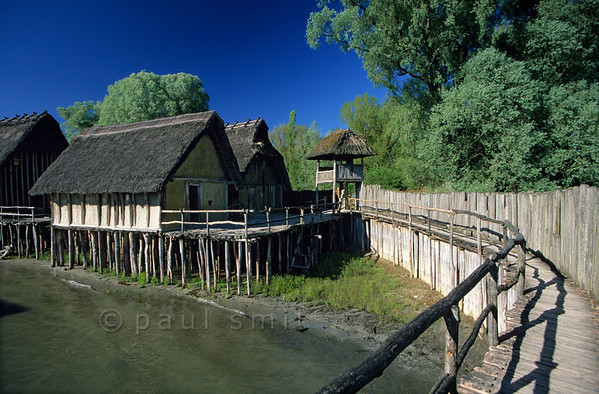 [GERMANY.BAWU 00724] 'Stone Age village.'  West African huts? Rather a German Stone Age lake-dwelling, reconstructed in the Pfahlbau open air museum in Unteruhldingen. Photo Paul Smit.