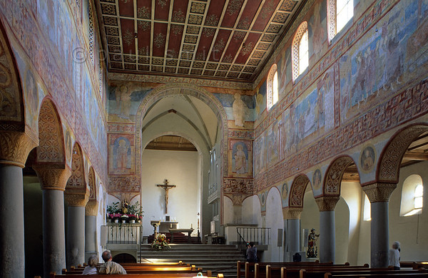 [GERMANY.BAWU 00807] 'St. Georg, Reichenau.'  A complete sequence of frescoes dating around 1000 makes the church of St. Georg at island Reichenau world famous. It's one of the reasons why the island is chosen to be on the UNESCO world hertitage list. Photo Paul Smit.