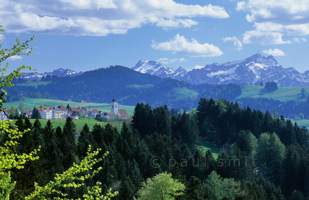 [SWITZER.MITTEL 00882]  'Alpstein range.'  Between St. Gallen and Heiden a friendly region of rolling hills is situated. Looking down from there you'll see the Bodensee, looking up the Alpstein range, with Säntis (2503 m) at right. Photo Paul Smit.