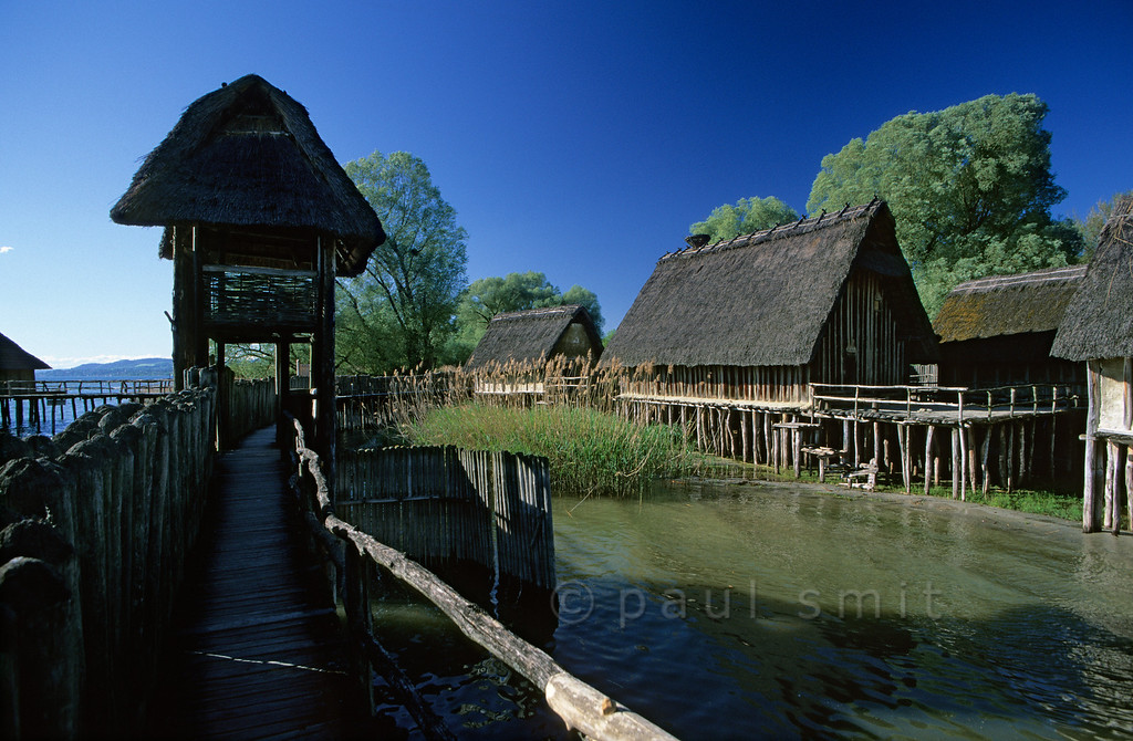 [GERMANY.BAWU 00728] 'Stone Age village.'  German Stone Age lake-dwelling, reconstructed in the Pfahlbau open air museum in Unteruhldingen. Photo Paul Smit.
