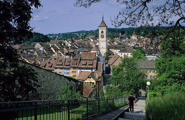 [SWITZER.MITTEL 00828]  'Schaffhausen roofs.'  From the Munot fortress in the heart of Schaffhausen you are looking over the rooftops of the city. Photo Paul Smit.