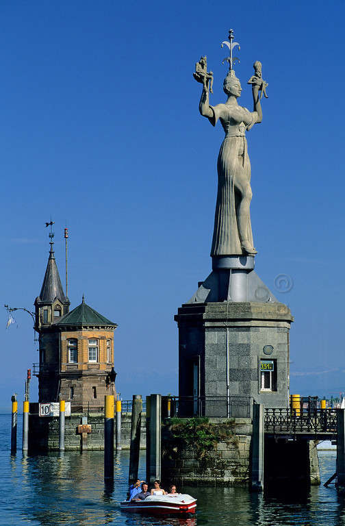 [GERMANY.BAWU 00786] 'Port of Konstanz.'  Permanently turning around her axis, legendary hooker Imperia shows her beauty to whoever enters the port of Konstanz. During the days of the Council of Constance pope and emperor were in her spell. Photo Paul Smit.