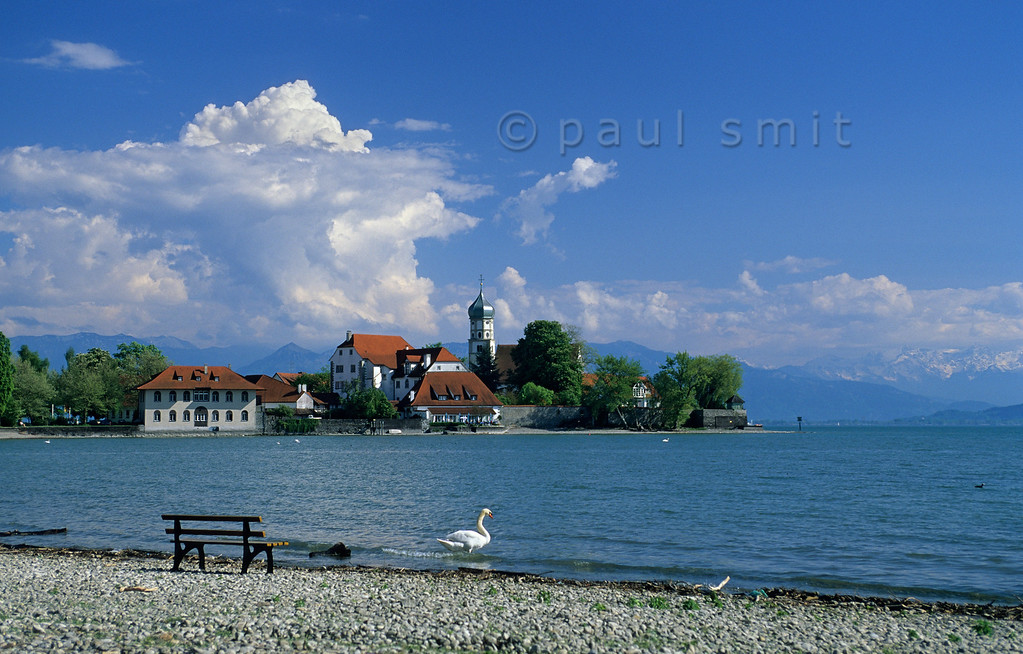 [GERMANY.BAYER 00685] 'Swan at Wasserburg.'  Wasserburg is situated at a small peninsula in the Lake of Constance, against the backdrop of the Swiss Alps. Photo Paul Smit.