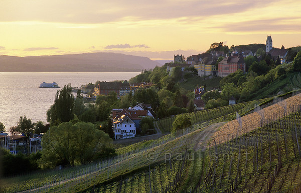 [GERMANY.BAWU 00710]  'vineyards of Meersburg.'  Most people don't leave Meersburg, one of the top attractions at the Bodensee, for a walk. That's a pity, because it is surrounded by vineyards. Photo Paul Smit.