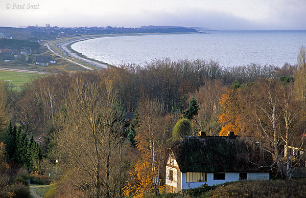 [GERMANY.MECKLENBURG 9393]  'Holiday house on Hiddensee.'  Island of Hiddensee: holiday house on the flanks of the Dornbusch hill. In the background a part of the long beach framing the westside of Hiddensee. Photo Paul Smit.