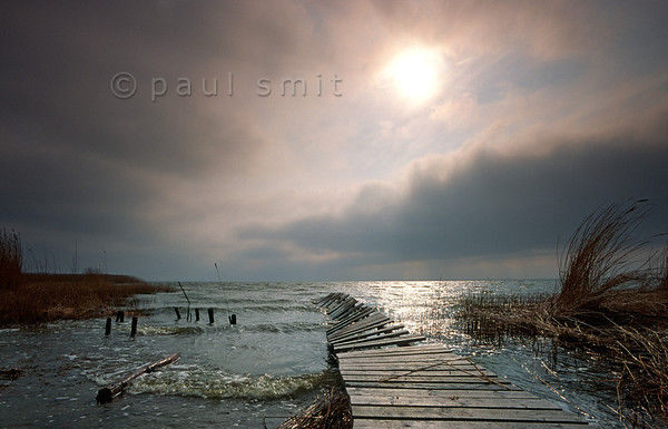[GERMANY.MECKLENBURG 9332] 'Old pier near Ahrenshoop.'  On old pier jets into the Saaler Bodden (Bodden = local word for lagune) behind the peninsula Fischland-Darss-Zingst near Ahrenshoop. Photo Paul Smit.