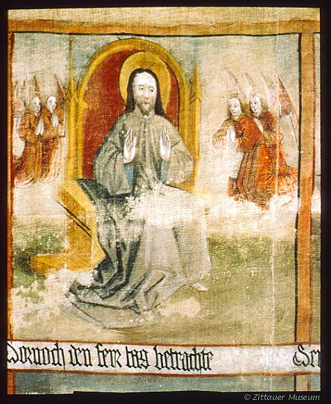 [GERMANY.SACHSEN 7502] 'Lent cloth, Zittau.' Zittauer Fastentuch (Lent Cloth), row 1, image 8: God on his seventh day of creation (his day off). In the Middle Ages during Lent such cloths would shroud the altar, the most holy, to make the congregation also fast in a spiritual sense. Originally they were white, later biblical stories were painted on them. They ultimately became quite huge and would hide the entire choir from sight with their comic strips. Only a handful has survived. The cloth in Zittau is the largest and most beautiful. Photo Zittauer Stadtmuseum.