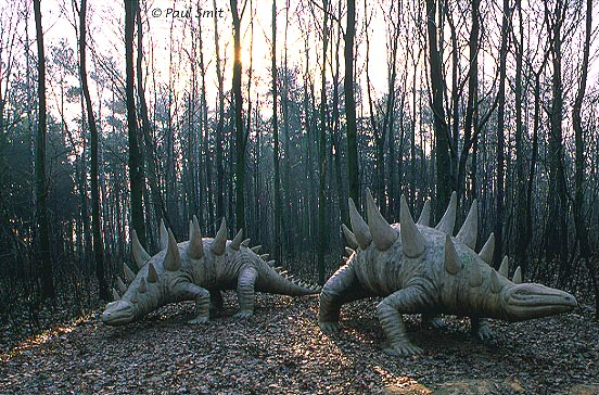 [GERMANY.SACHSEN 7429] 'Two Polacanthuses.' Two Polacanthuses seem to trust nobody. The photo was taken in the Saurierpark (dinosaur park) in Kleinwelka near Bautzen. The animals were designed and built from concrete by Franz Gruß. Photo Paul Smit.