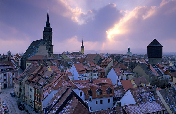 [GERMANY.SACHSEN 7447] 'Unspoilt yet restored Bautzen.' In GDR times Bautzen was dark brown. Since 1989 colour has returned. Thanks to large scale restauration Bautzen is again one of the most beautiful middle-sized historical cities of Germany. Photo Paul Smit.