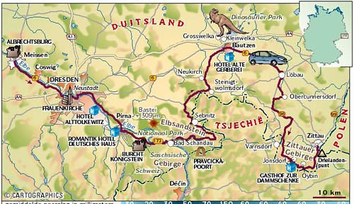Map of the route of the scenic drive around Dresden, from Meißen via Dresden and Pirna to the Elbsandsteingebirge (Elbe Sandstone Mountains) and then to Bautzen, the dinoparks at Großwelka and Kleinwelka and finally through the Oberlausitz region to Zittau and its hills. This map is for indication purposes only. The copyright is owned by Cartographics in Holland.