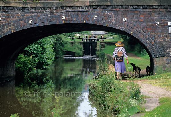 Walking along the Caldon Canal.
