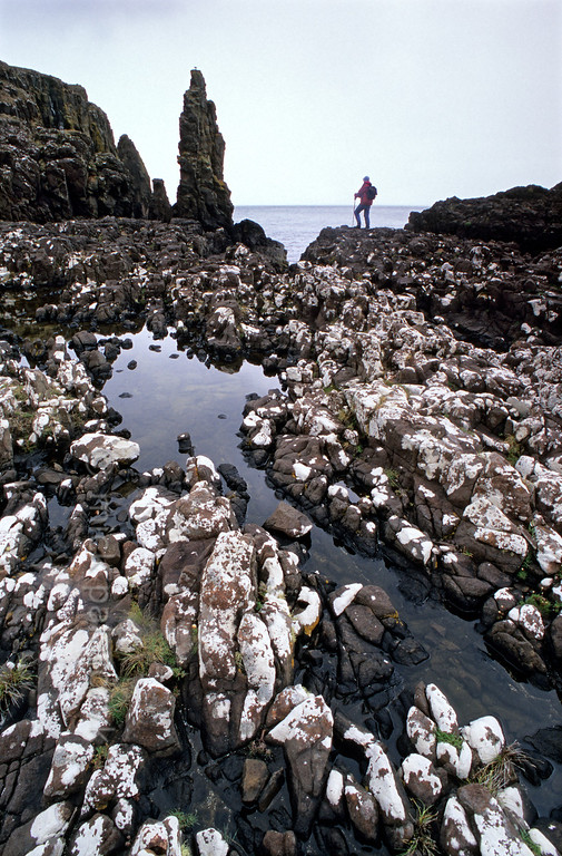 [BRITAIN.HEBRIDES 27787] 'Coastline at Rubha Hunish.'  	White lichens cover the rugged Skye coastline on the headland of Rubha Hunish, situated at the northern tip of the Trotternish Peninsula. Photo Mick Palarczyk.