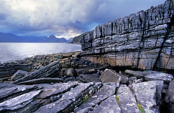 [BRITAIN.HEBRIDES 27845] 'Coast at Elgol.'  	The Skye coast near Elgol offers views across Loch Scavaig with the Cuillins on the northern horizon. Photo Mick Palarczyk.