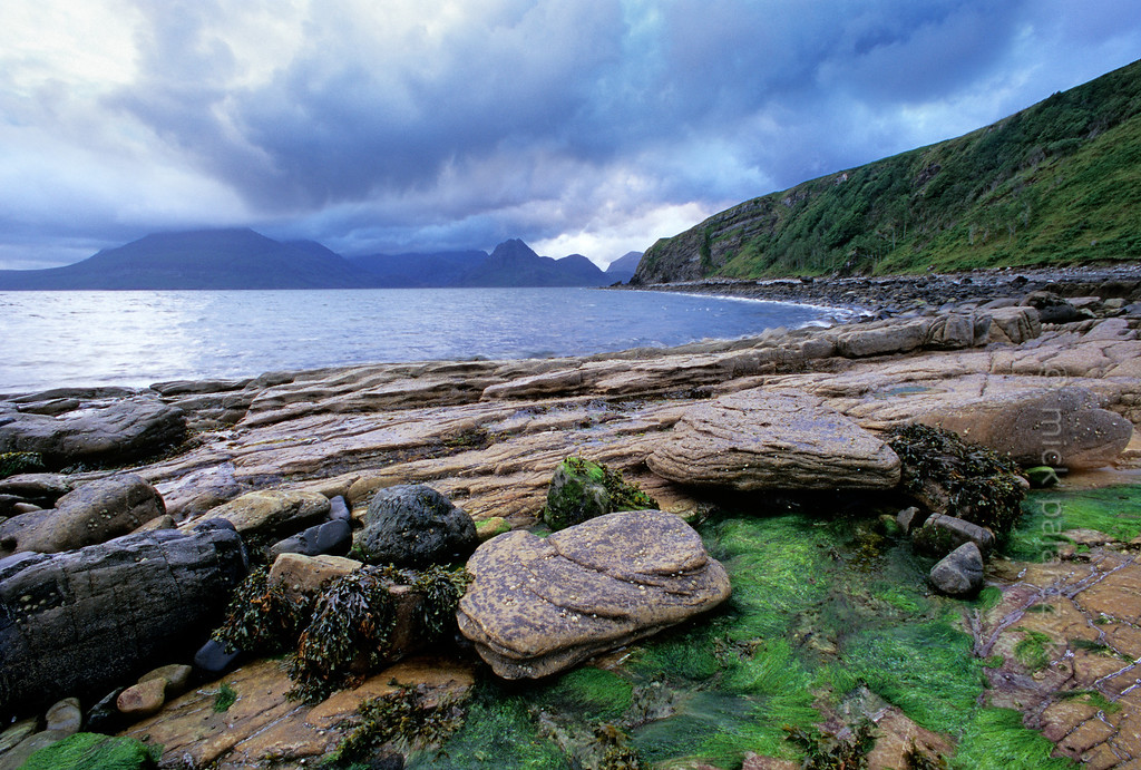 [BRITAIN.HEBRIDES 27840] 'Coast at Elgol.'  The Skye coast near Elgol offers views across Loch Scavaig with the Cuillins on the northern horizon. Photo Mick Palarczyk.