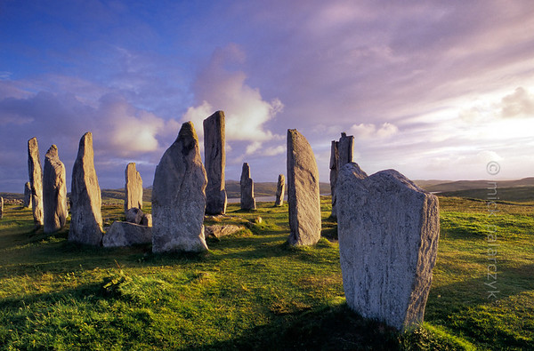 [BRITAIN.HEBRIDES 27669] 'Callanish seen from the north.'  On the Isle of Lewis the standing stones of the neolithic stone circle at Callanish bask in the evening sun. The circle has a diameter of 13 meter and was constructed around 2700 BC from slabs of Lewisian gneiss. The slab in the foreground is part of an avenue of stones that approaches the circle from the north. Photo Mick Palarczyk.