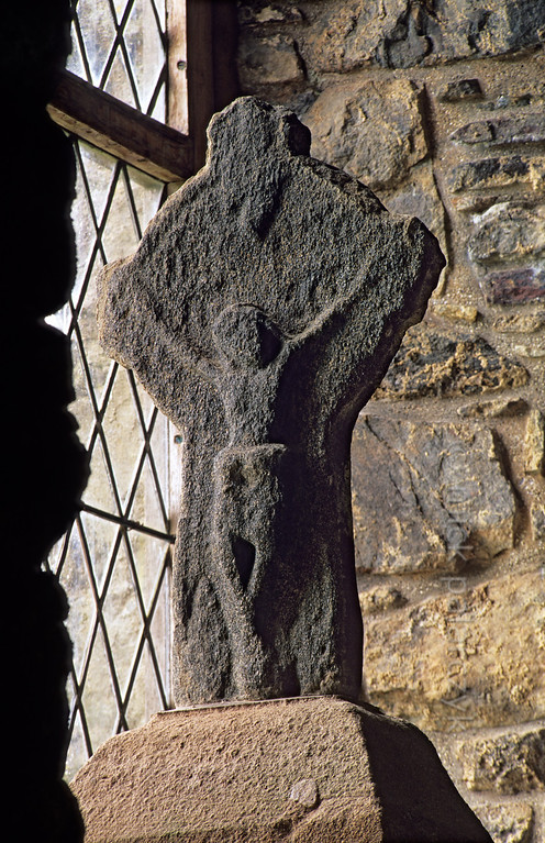 [BRITAIN.HEBRIDES 27723] 'Crucifix at Rodel.'  	A late medieval disc-headed cross showing a crucifix stands in a window opening at Rodel's St. Clement's on South Harris. Photo Mick Palarczyk.