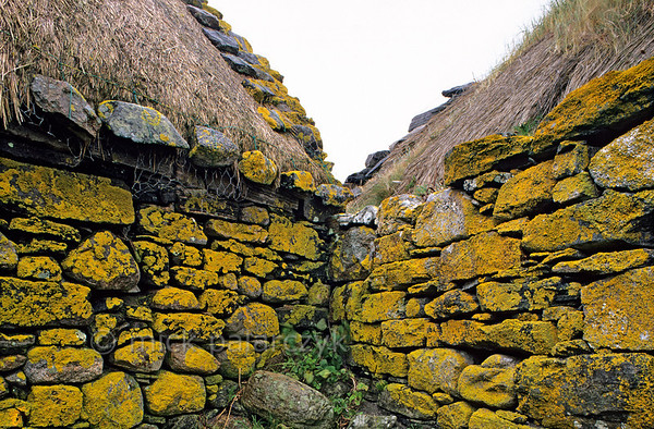 [BRITAIN.HEBRIDES 27730] 'Farmhouse on Berneray.'  	In Baile on the Isle of Berneray (between the Isle of North Uist and Harris) lichens are covering the old walls of a thatched farmhouse. Photo Mick Palarczyk.