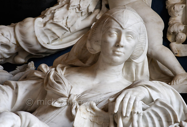 [HOLLAND.GRONINGEN 29492] 'Tomb sculpture in Midwolde.'  	The church of Midwolde houses a beautiful marble tomb sculpted by well-known Dutch baroque sculptor Rombout Verhulst (1624-1698). The tomb was commissioned by Anna van Ewsum (who we see immortalized here) for herself and her husband. They were the inhabitants of the nearby Nienoord Estate at Leek. Photo Mick Palarczyk.