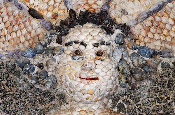 [HOLLAND.GRONINGEN 29486] 'Mermaid's head in shell grotto at Leek.'  	The interior of a garden-house on the Nienoord Estate near the village of Leek has been decorated with mosaics of mollusks around 1700 AD by Italian craftsmen. Here we see the head of a mermaid which occupies an alcove in the western wall. It is largely filled out with local Dutch shells but elsewhere tropical specimens have been used. Photo Mick Palarczyk.