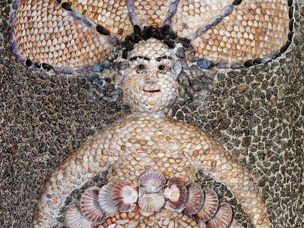 [HOLLAND.GRONINGEN 29487] 'Mermaid in shell grotto at Leek.'  	The interior of a garden-house on the Nienoord Estate near the village of Leek has been decorated with mosaics of mollusks around 1700 AD by Italian craftsmen. Here we see a mermaid which occupies an alcove in the western wall. It is largely filled out with local Dutch shells but elsewhere tropical specimens have been used. Photo Mick Palarczyk.