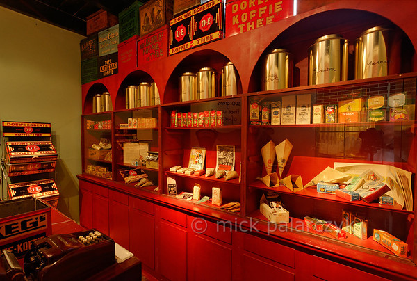 "[HOLLAND.GRONINGEN 29455] 'Tea museum in Houwerzijl.'  	A former church building in the village of Houwerzijl houses the ""Theefabriek"", a combination of teahouse and tea museum. Here we see a reconstruction of a traditional tea shop. Photo Mick Palarczyk."