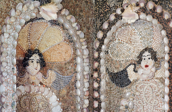 [HOLLAND.GRONINGEN 29478] 'Angels in shell grotto at Leek.'  	Winged angel's heads decorate the eastern (left) and southern wall of a garden-house on the Nienoord Estate near the village of Leek. The interior of this garden house has been decorated with mosaics of mollusks around 1700 AD by Italian craftsmen. Photo Mick Palarczyk.