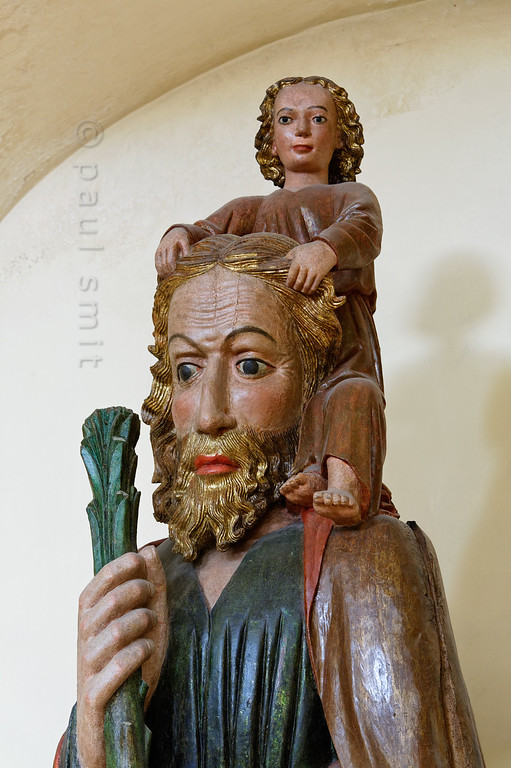 Saint Christopher in Aosta's Santo Stefano church.