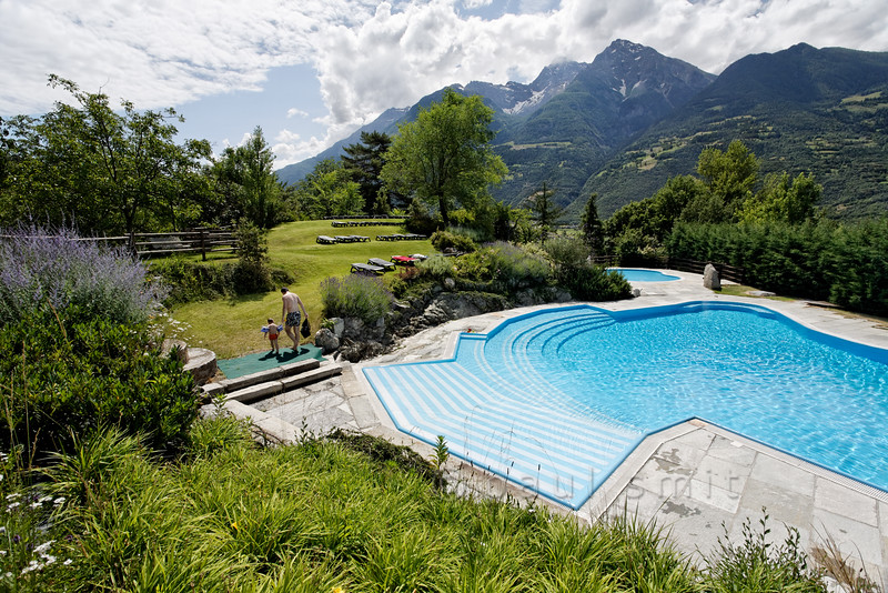 Swimming pool of Hotel Milleluci, Aosta.