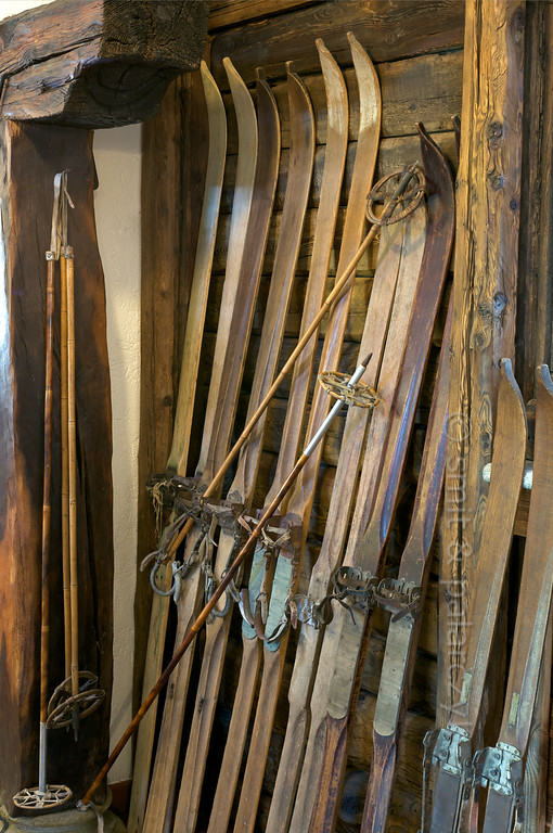 Vintage skis of the Alps.
