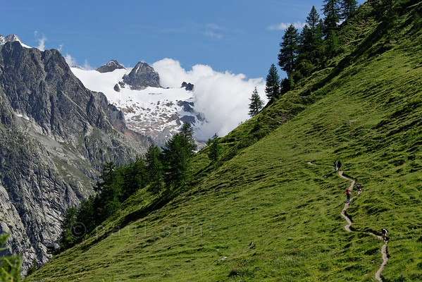 Tour du Mont Blanc trail above Val Ferret.